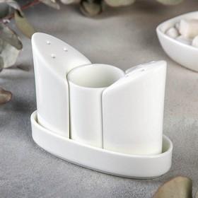 Набор для специй, 3 шт: солонка, перечница, ёмкость для зубочисток, WL-996117/SP