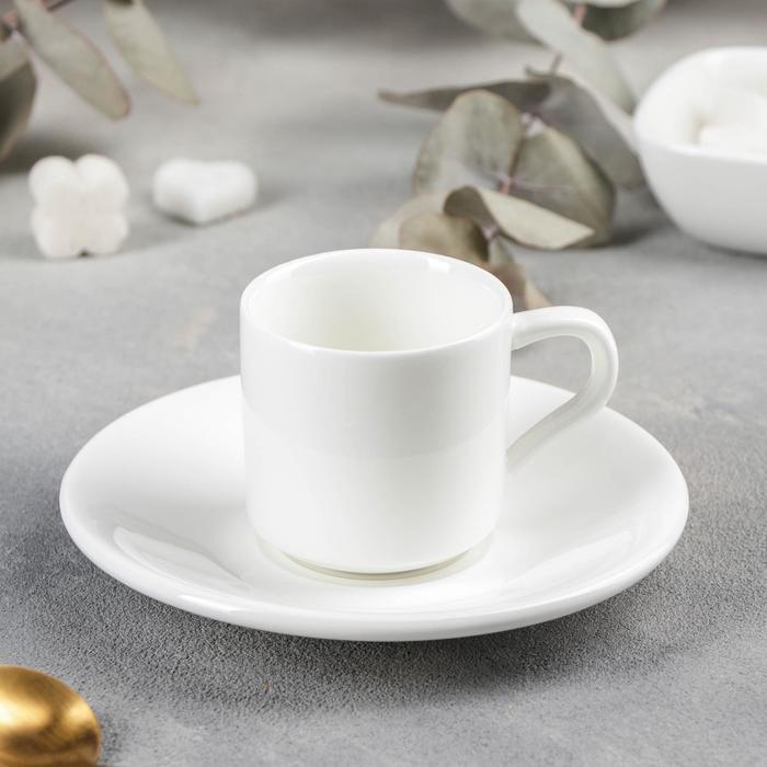 Кофейная пара Wilmax, кружка 90 мл, блюдце - фото 308067328