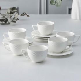 Набор чайный «Юлия Высоцкая», на 6 персон, 12 предметов: 6 чашек 200 мл, 6 блюдец, цвет белый