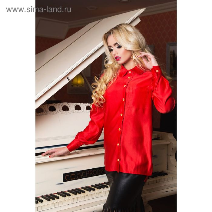 Блузка женская, размер 50 (XXL), рост 164 см, цвет красный (арт. 72043В С+)
