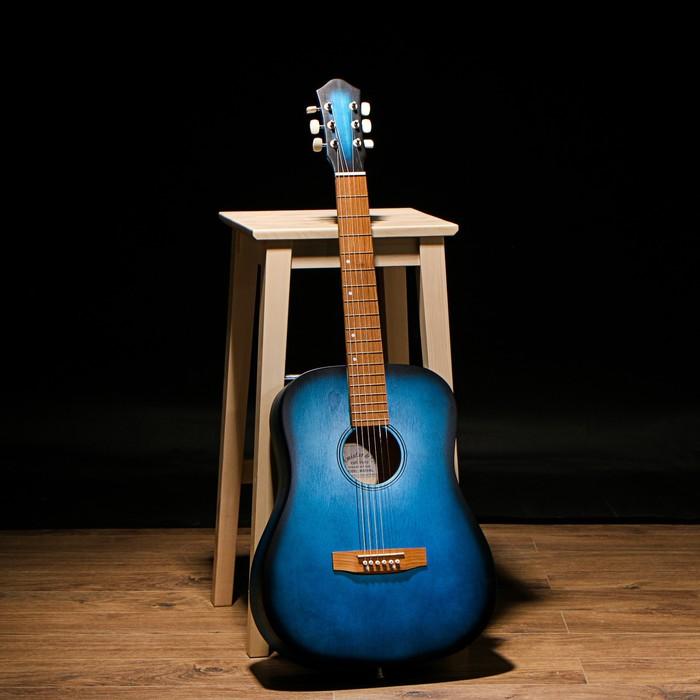 """Гитара акустическая """"Амистар Н-513"""" 6-струнная, художественная отделка, синяя"""