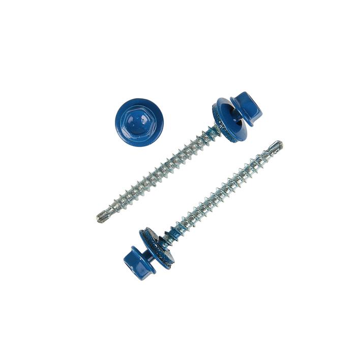 Саморезы кровельные OMAX, 4.8х50 мм, сверло, ярко-синий RAL 5005, 150 шт.