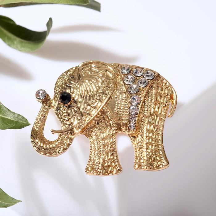 """Брошь """"Слон индийский"""", цвет белый в золоте"""