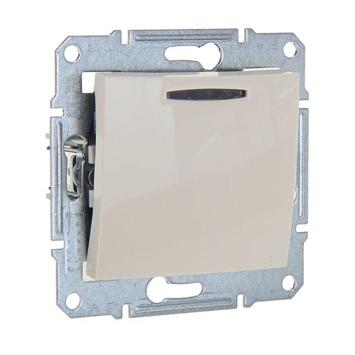 """Выключатель """"Sedna"""" SDN1400147, 10 А, 1 клавиша, с подсветкой, цвет бежевый"""