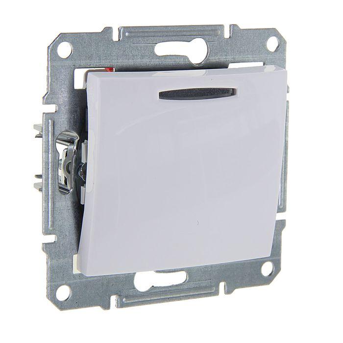 """Выключатель """"Sedna"""" SchE SDN1400121, 10 А, 1 клавиша, с подсветкой, скрытый, белый"""