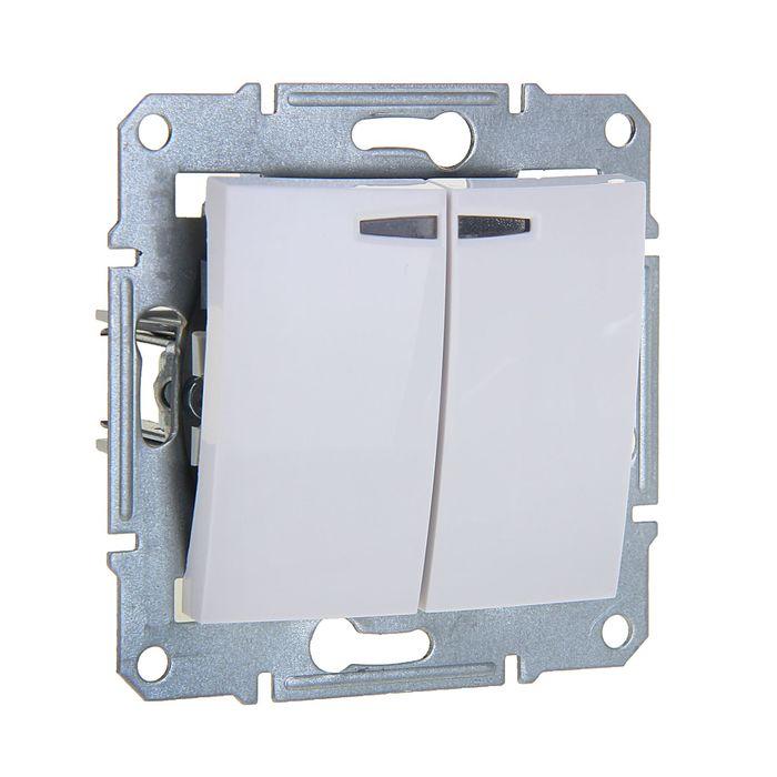 """Выключатель """"Sedna"""" SchE SDN0300321, 10 А, 2 клавиши, с подсветкой, белый"""