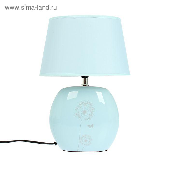 """Лампа настольная """"Одуванчики"""" бело-голубая"""