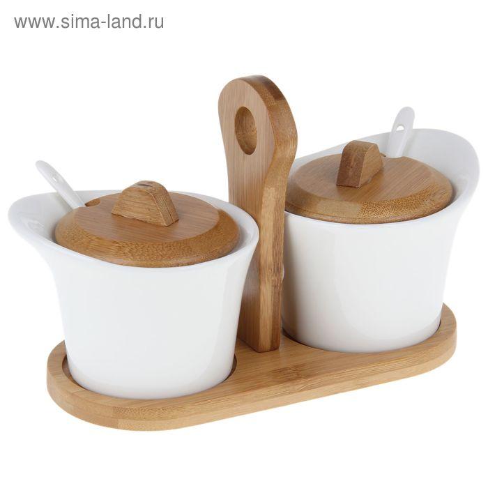 """Набор банок для сыпучих продуктов на подставке """"Эстет"""", 2 шт (по 250 мл; 11,5х8 см)"""