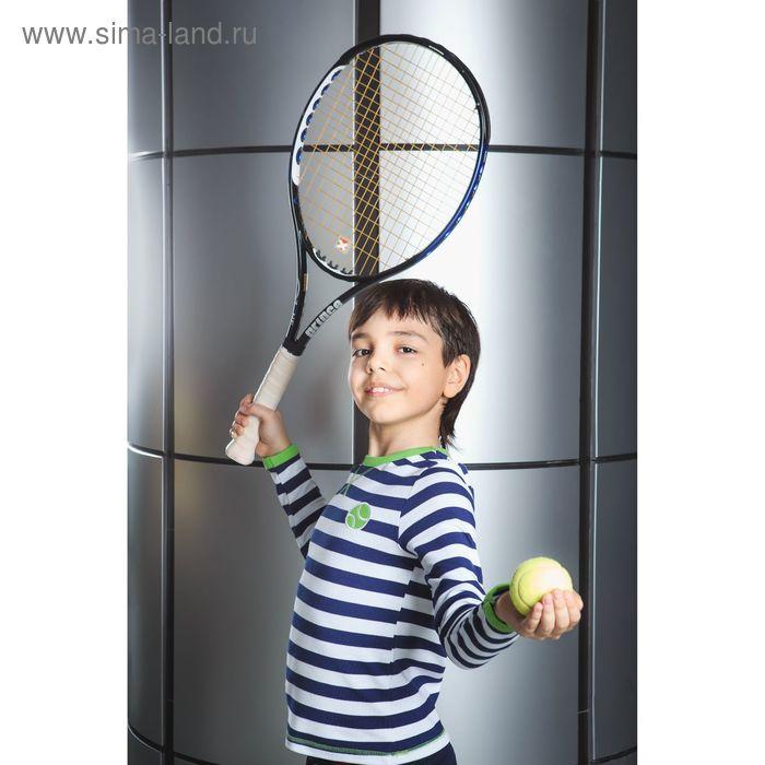 Футболка для мальчика с длинным рукавом, рост 134-140 см, цвет синий/полоска (арт. AZ-807)