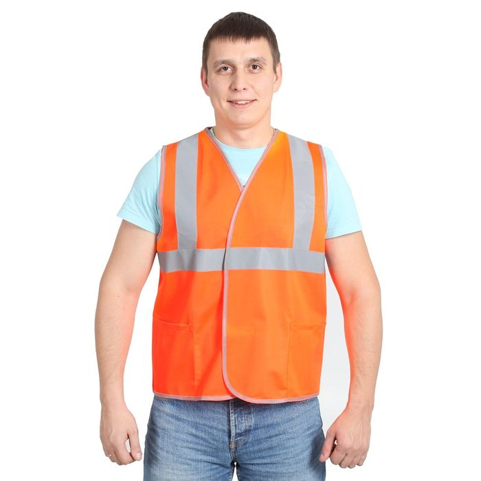 Жилет сигнальный на липах, размер XL/52-54, цвет оранжевый