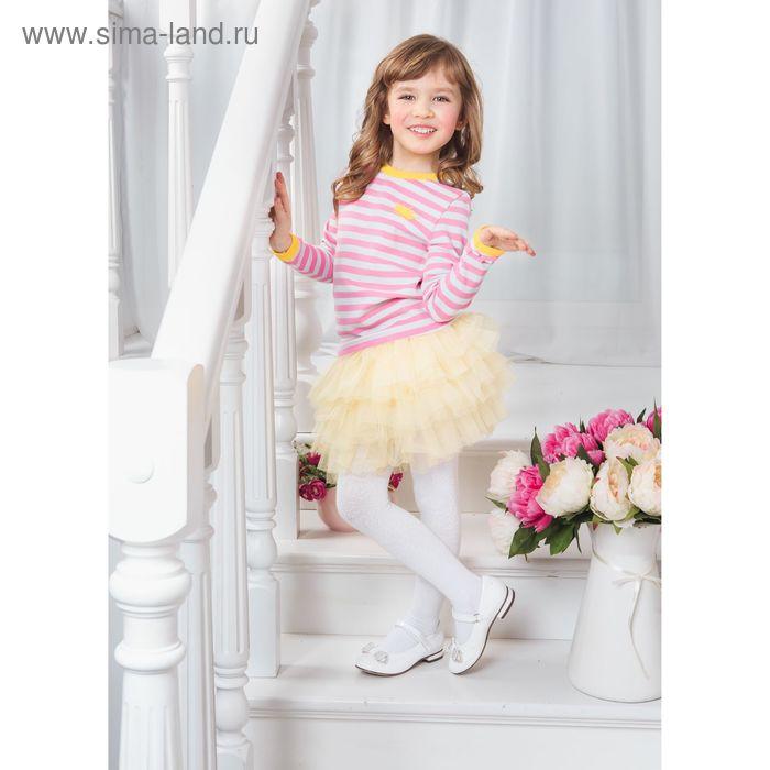 Футболка для девочки с длинным рукавом, рост 134-140 см, цвет розовый/полоска (арт. AZ-817)