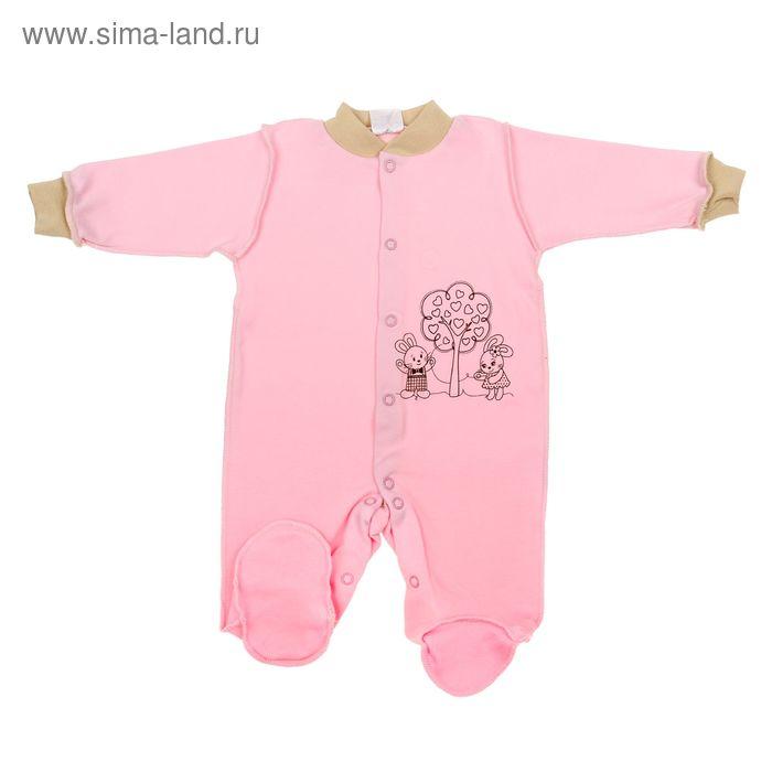 """Комбинезон для девочки""""Зайка"""", рост 62 см (40), цвет розовый 3689"""