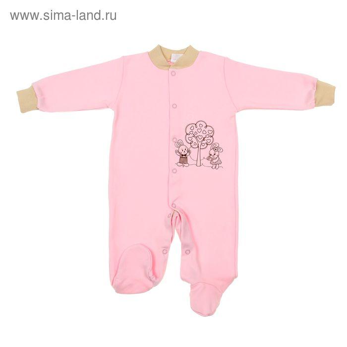 """Комбинезон для девочки""""Зайка"""", рост 68 см (44), цвет розовый 3689"""