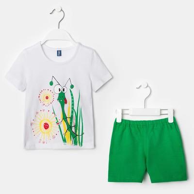 """Костюм для девочки """"Кузнечик"""", рост 98-104 см (28), цвет белый/зелёный"""