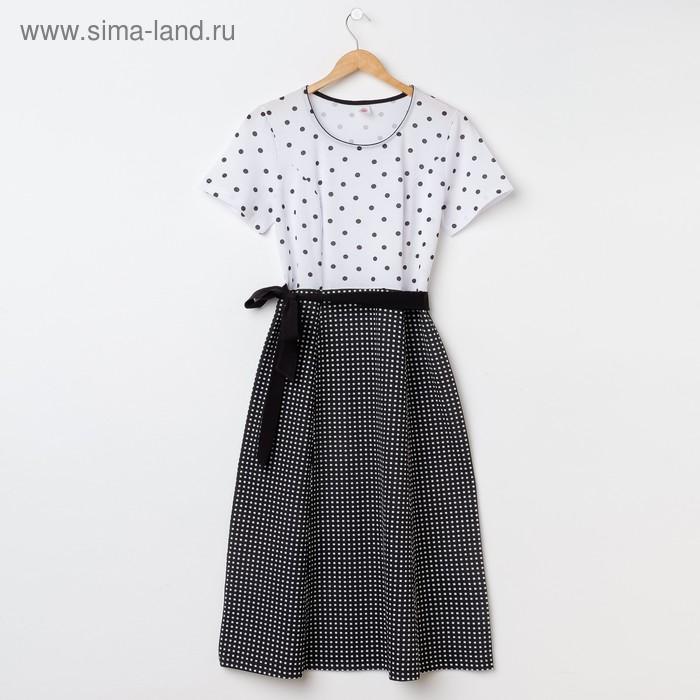 Платье женское Р708168 чёрный/белый, рост 170-176 см, р-р 54