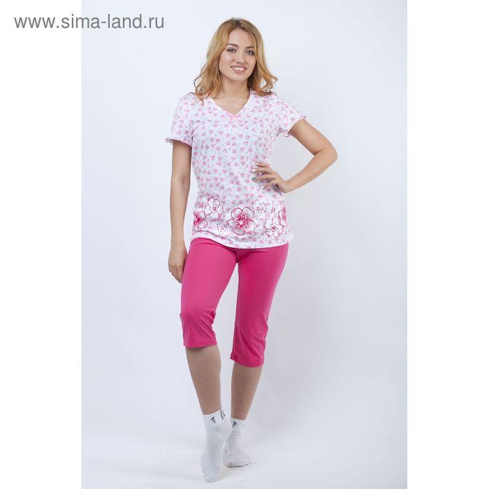 Пижама женская (футболка, брюки укор) Р208032 азалия, рост 170-176 см, р-р 56