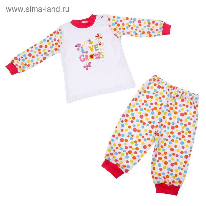 """Пижама для девочки """"Веселый горошек"""", рост 104 см (56), цвет белый/разноцв.горох 16161"""