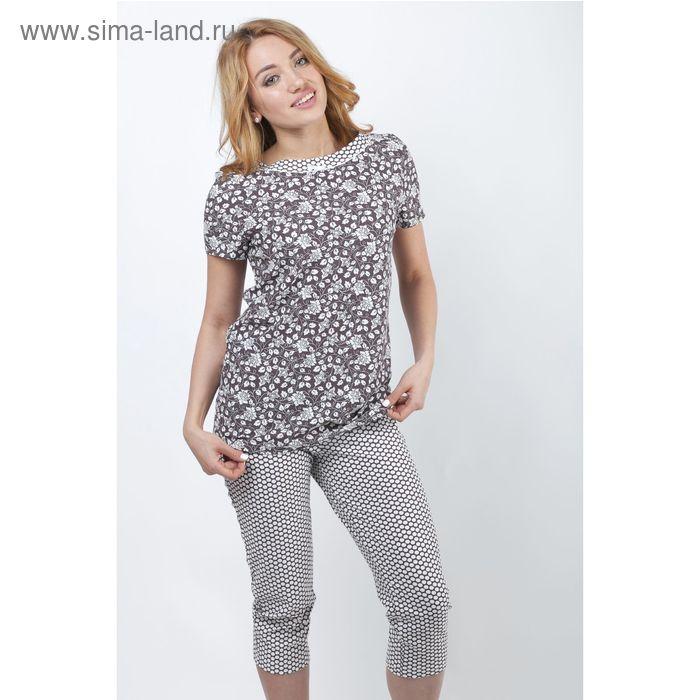 Пижама женская (футболка, бриджи) Р208080 вискоза цвет коричневый, рост 158-164, р-р 46