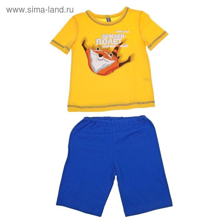 Комплект для мальчика (футболка+шорты), рост 98-104 см, цвет лимон/синий Р207770_Д