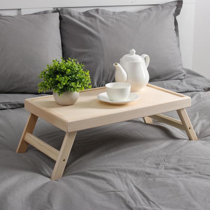 Столик для завтрака белый, складные ножки