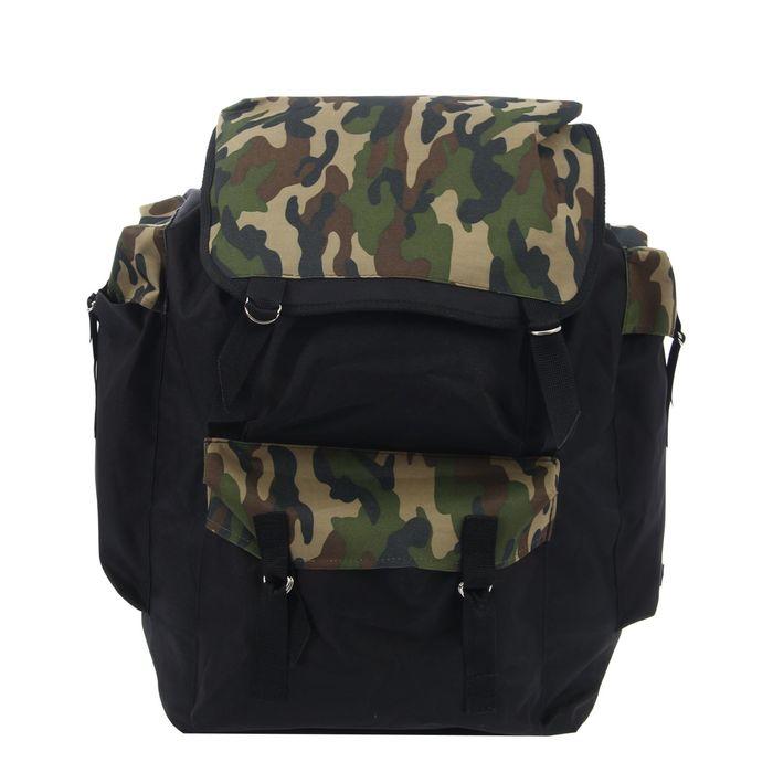 """Рюкзак туристический на клапане """"Камуфляж"""", 1 отдел, 4 наружных кармана, объём - 55л, цвет хаки"""