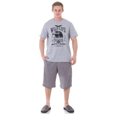 Комплект мужской (футболка, шорты), размер 48, цвет серый (арт. 886/1)