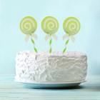 """Набор для украшения торта """"Карамелька"""" с бантиком, набор 6 шт., цвет зелёный"""
