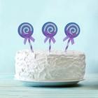 """Набор для украшения торта """"Карамелька"""" с бантиком, набор 6 шт., цвет сиреневый"""