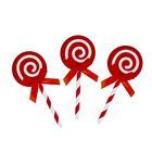 """Набор для украшения торта """"Карамелька"""" с бантиком, набор 6 шт., цвет красный"""