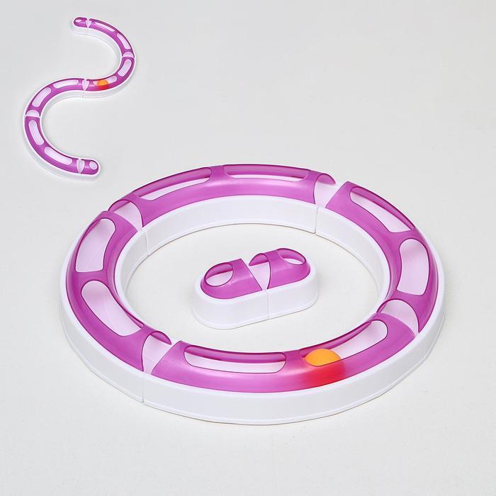 """Игрушка для кошек 2 в 1 """"Круг и волна"""" с шариком (картоная каробка), микс цветов"""