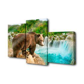 """Модульная картина на подрамнике """"Медведь на обрыве"""", 26×50 см, 26×40 см, 26×32 см, 80×50 см"""