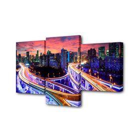 """Картина модульная на подрамнике """"Сияние мостов"""" (26*40см, 26*50см, 26*31см) 78*50см"""
