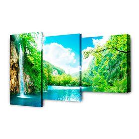 """Модульная картина на подрамнике """"Водопад у горной реки"""", 26×40, 26×50, 26×31, 78×50 см"""