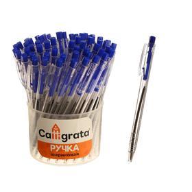 Ручка шариковая автоматическая, прозрачный корпус, стержень синий Ош