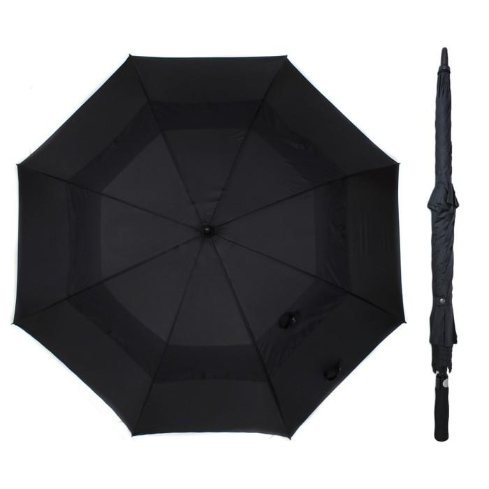 """Зонт-трость """"Антишторм"""", полуавтомат, R=65см, цвет чёрный"""