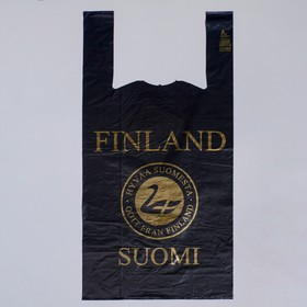 """Пакет """"Suominen"""" чёрный, полиэтиленовый, майка, 28 х 55 см, 35 мкм"""