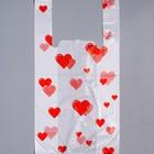 """Пакет """"Сердечки"""", полиэтиленовый майка, 45х25 см, 13 мкм"""