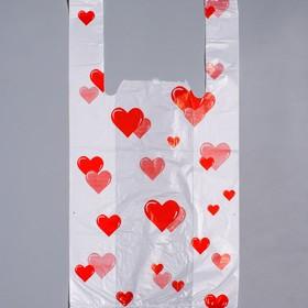 """Пакет """"Сердечки"""", полиэтиленовый, майка, 25 х 45 см, 13 мкм"""
