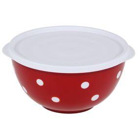 Салатник с крышкой, 2 л, цвет красный