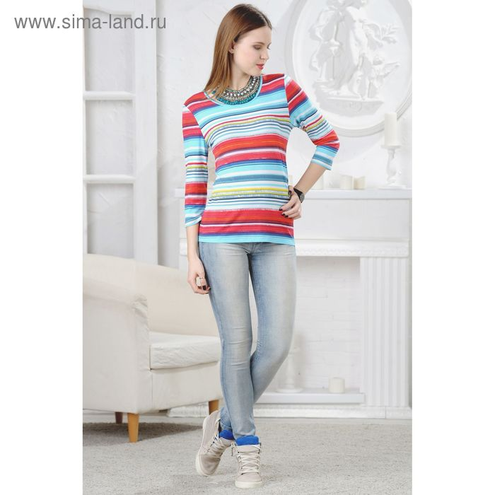 Блузка женская, размер 50, рост 164 см, цвет голубой/красный/тёмно-синий (арт. 4538 С+)