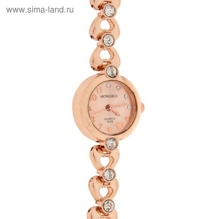 Часы наручные женские, браслет металл со стразами и сердечком