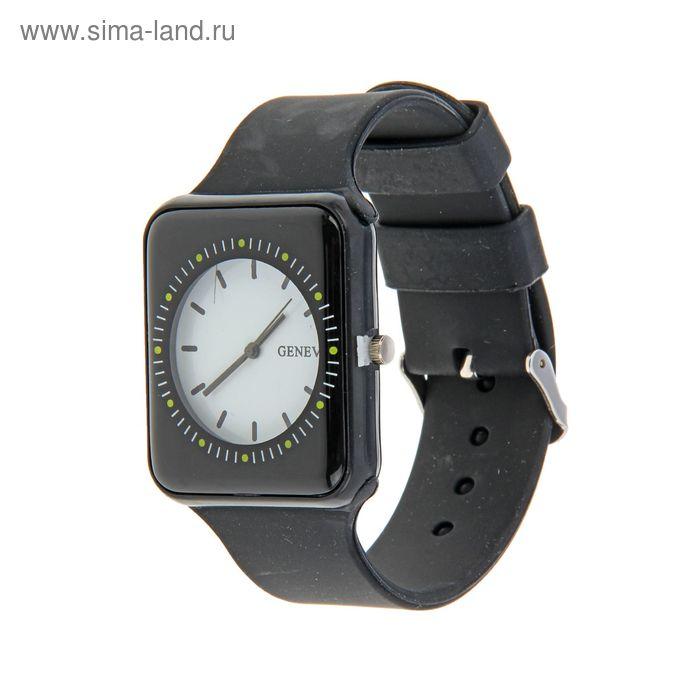 Часы наручные женские, светлый циферблат силиконовый ремешок черн