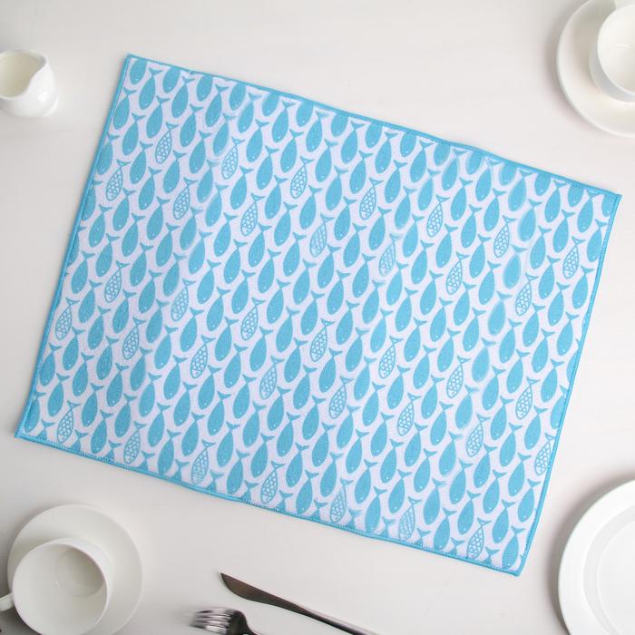 """Коврик для сушки посуды 38×51 см """"Рыбки"""", микрофибра"""