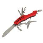 Нож многофункциональный 7 в 1, рукоять-дуга с насечками, красная