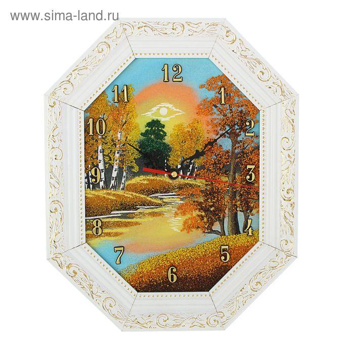 """Часы Багет (белый) овал №1  20/26см """"Осень"""", каменная крошка"""