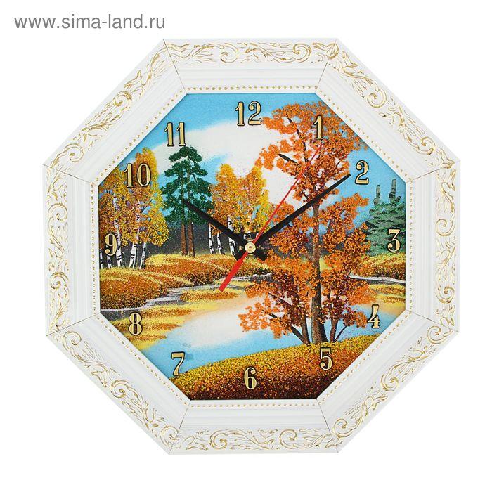 """Часы Багет (белый) восмигранные №2 D=32 см """"Осень"""", каменная крошка"""