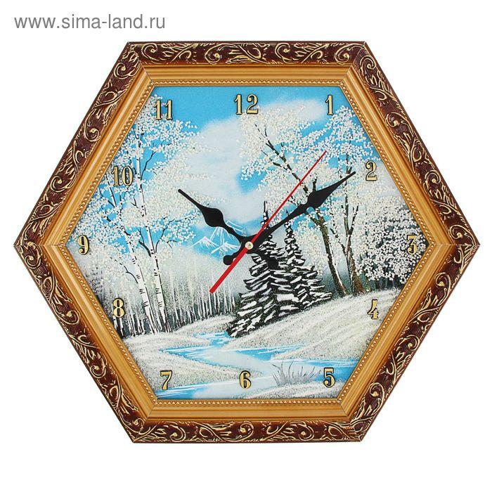 """Часы Багет (золотой) шестигранные №3 D=37 см """"Зима"""", каменная крошка"""