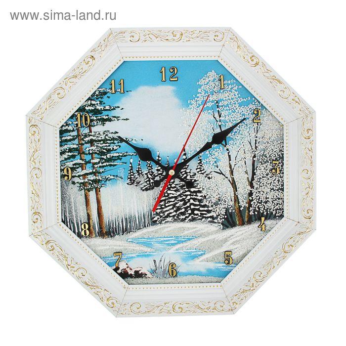 """Часы Багет (белый) восмигранные №3 D=37 см """"Зима"""", каменная крошка"""