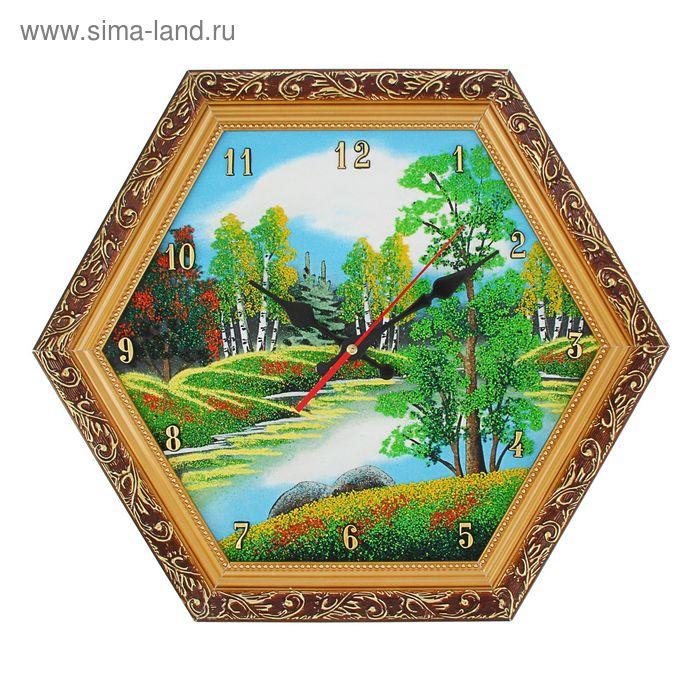 """Часы Багет (золотой) шестигранные №3 D=37 см """"Лето"""", каменная крошка"""