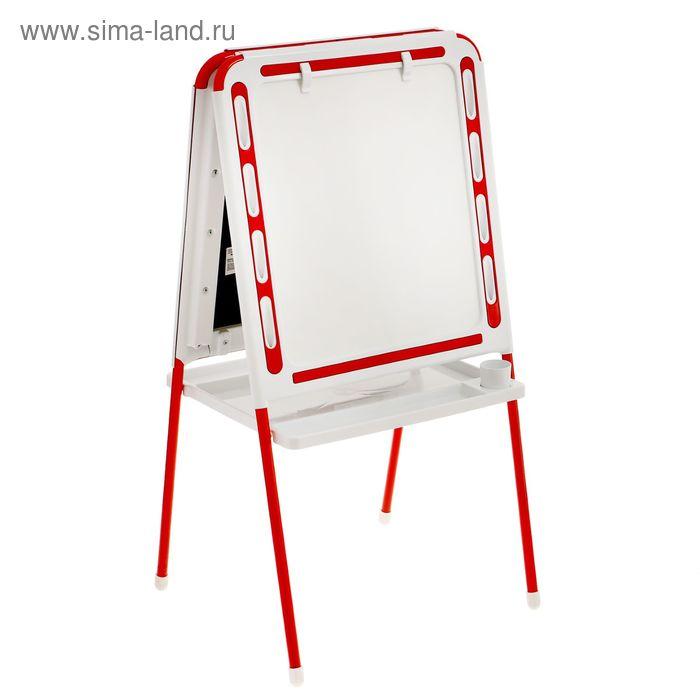 Мольберт двухсторонний с держателями для бумаги, цвет бело-красный